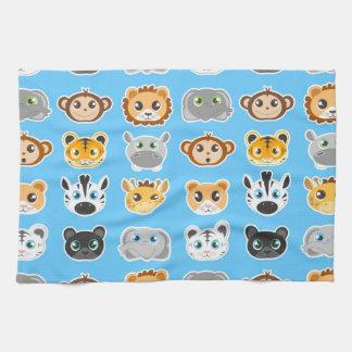 Cute Jungle Animals Pattern Blue Towels