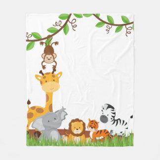 Cute Jungle Baby Animal Fleece Blanket