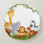 Cute Jungle Baby Animals Round Pillow