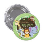 Cute Jungle Baby Shower; Bright Green Ovals 1 Inch Round Button
