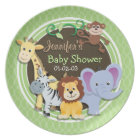 Cute Jungle Baby Shower; Bright Green Ovals Plate