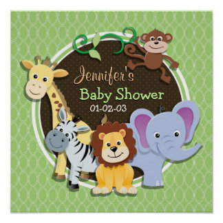 Cute Jungle Baby Shower; Bright Green Ovals Posters