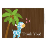 Cute Jungle Giraffe Boy Baby Shower Thank You Cards