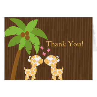 Cute Jungle Giraffe Multiple Baby Shower Thank You Stationery Note Card