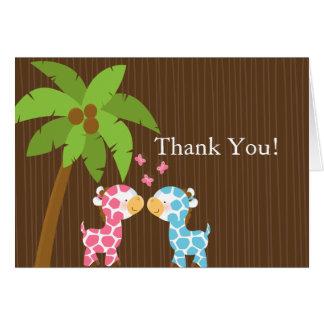 Cute Jungle Giraffe Multiple Baby Shower Thank You Card