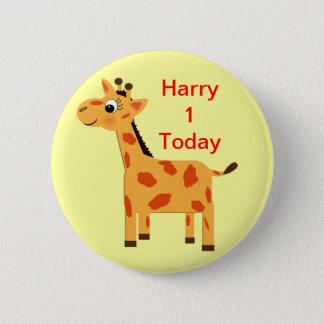 Cute Jungle Giraffe Personalized Age Butt 2 Inch Round Button
