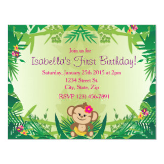 Cute Jungle Monkey Celebration Card