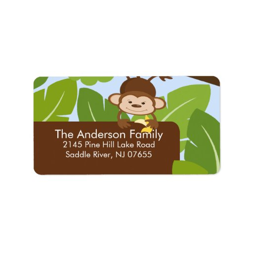 Cute Jungle Monkey Frame Address Label