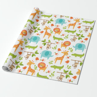 Cute Jungle Safari Animal Wrapping Paper