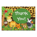 Cute Jungle Safari Animals Thank You Stationery Note Card
