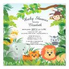 Cute Jungle Safari Baby Shower Invitations