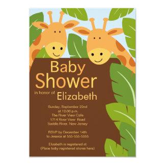 Cute Jungle Safari Giraffe Multiple Baby Shower Card