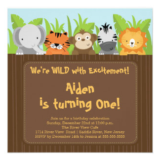 Cute Jungle Safari Zoo Animals Kids Birthday Invitation