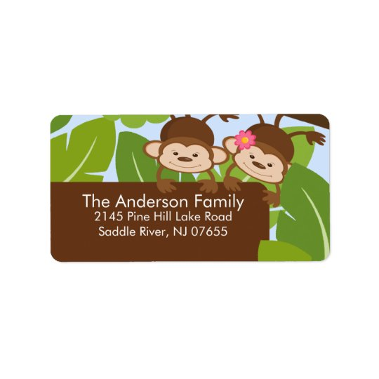 Cute Jungle Twins Monkey Frame Address Label