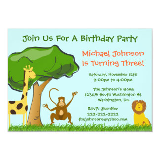 Cute Jungle Zoo Animals Grass Boy's Birthday Party Card