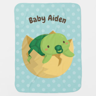 Cute Just Hatched Turtle Personalized Baby Blanket