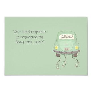 "Cute Just Married Wedding RSVP 3.5"" X 5"" Invitation Card"