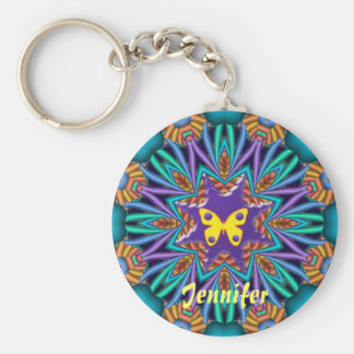 Cute kaleidoscope Ketchain with Name & Butterfly Keychain