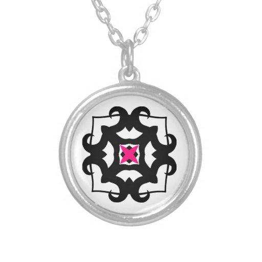 Cute kaleidoscopic black and hot pink emblem custom jewelry