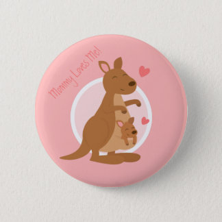 Cute Kangaroo Baby Joey Mother Child For Kids 2 Inch Round Button
