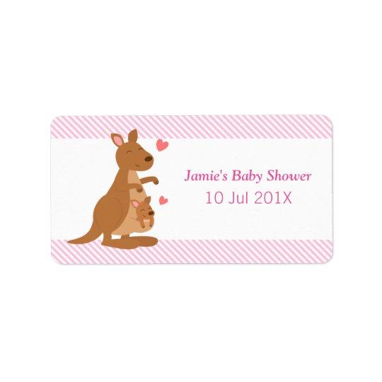 Cute Kangaroo Baby Shower Party Treats Label