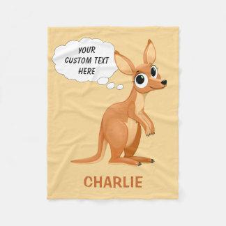Cute Kangaroo custom name & text fleece blankets
