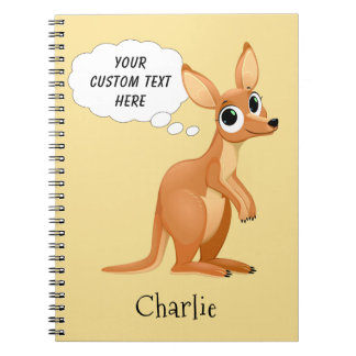 Cute Kangaroo custom name & text notebook