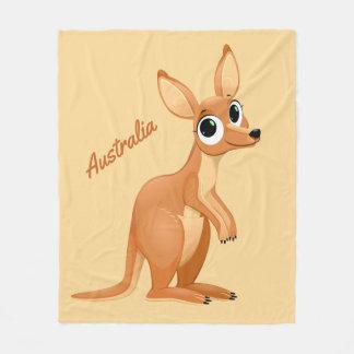 Cute Kangaroo custom text fleece blankets