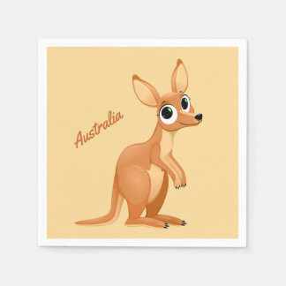 Cute Kangaroo custom text paper napkins