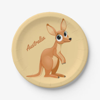 Cute Kangaroo custom text paper plates