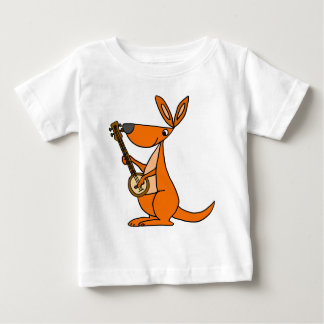 Cute Kangaroo Playing Banjo Cartoon Baby T-Shirt