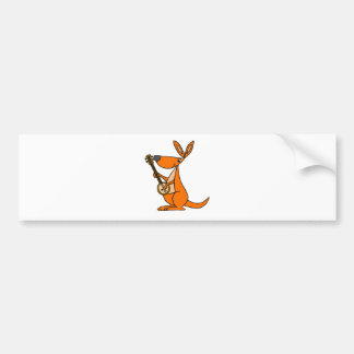 Cute Kangaroo Playing Banjo Cartoon Bumper Sticker