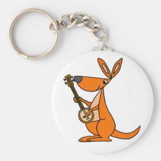 Cute Kangaroo Playing Banjo Cartoon Keychain
