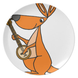 Cute Kangaroo Playing Banjo Cartoon Plate