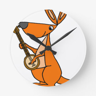 Cute Kangaroo Playing Banjo Cartoon Round Clock