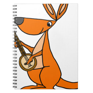 Cute Kangaroo Playing Banjo Cartoon Spiral Notebook