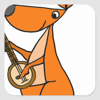 Cute Kangaroo Playing Banjo Cartoon Square Sticker