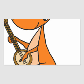 Cute Kangaroo Playing Banjo Cartoon Sticker