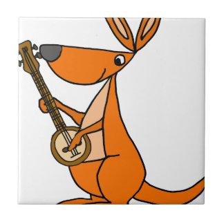 Cute Kangaroo Playing Banjo Cartoon Tile