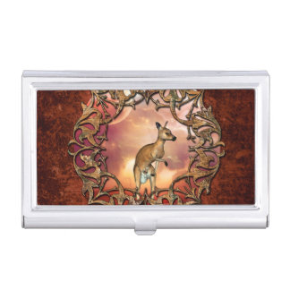 Cute kangaroo with baby in a fantasy landscape business card holder