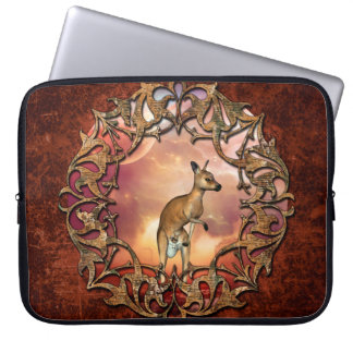 Cute kangaroo with baby in a fantasy landscape laptop sleeves
