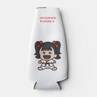 Cute Karate Girl Bottle Cooler
