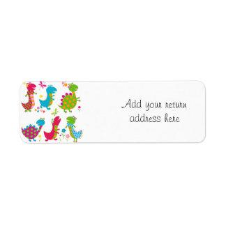 Cute,kawai,dinosaurs,kids,fun,happy,colourful,chic Return Address Label