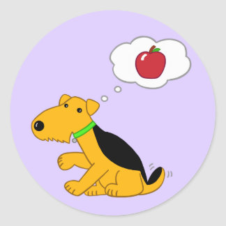 Cute Kawaii Airedale Dog Thinking of an Apple Classic Round Sticker