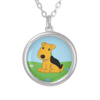 Cute Kawaii Airedale Puppy Dog in Field Necklace