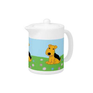 Cute Kawaii Airedale Puppy Dog in Field Tea Pot