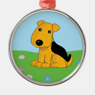 Cute Kawaii Airedale Puppy Field Premium Ornament