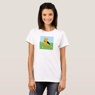 Cute Kawaii Airedale Terrier Dog in Field T-Shirt