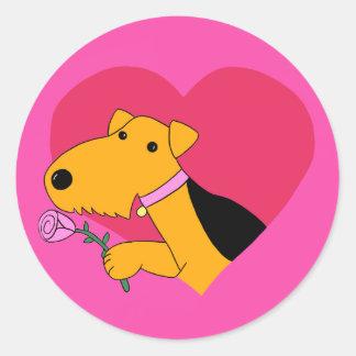 Cute Kawaii Airedale Terrier Dog W Rose Sticker