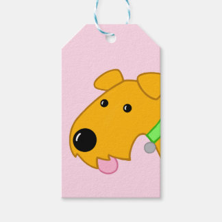 Cute Kawaii Airedale Terrier Puppy Face Gift Tag